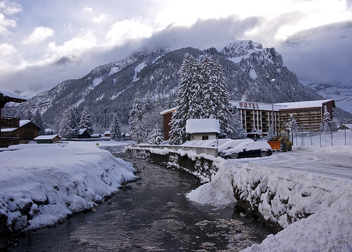 Snowy setting around Eurotel Victoria Hotel, Les Diablerets