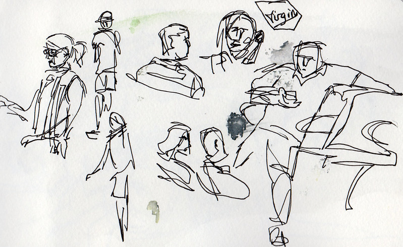 Urban sketching people at Melbourne Airport