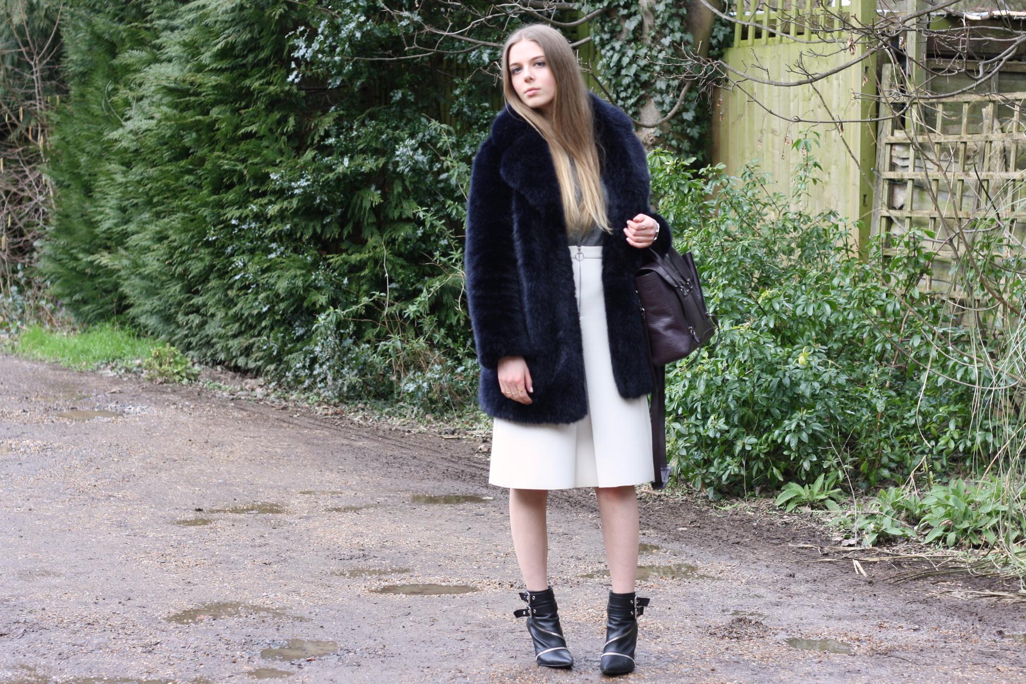 Topshop cream zip scuba skirt
