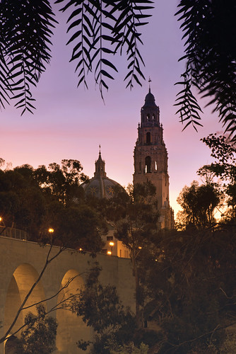 california morning bridge sky tree tower colors silhouette clouds sunrise sandiego balboapark