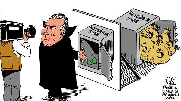 Governo interino quer aprovar este ano contrarreforma que inclui ampliação da idade mínima para aposentadoria - Créditos: Latuff