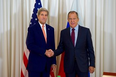 U.S. Secretary of State John Kerry shakes hands with Russian Foreign Minister Sergey Lavrov before a bilateral meeting on August 26, 2016, at the President Wilson Hotel in Geneva, Switzerland. [State Department photo/ Public Domain]