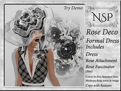 NSP Rose Deco Formal Dress with Hat - Black & White Plaid