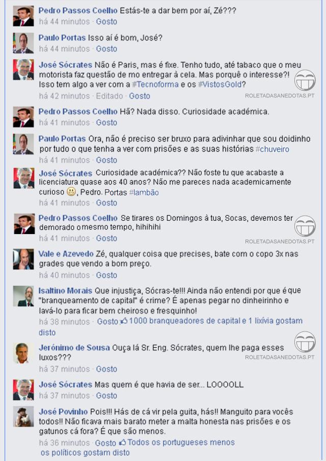 José Sócrates afirma no Facebook estar em prisão de luxo