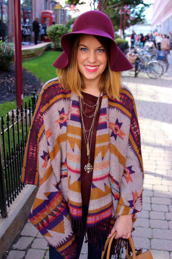 floppy hat, blanket poncho, how to wear, boston fashion blogger