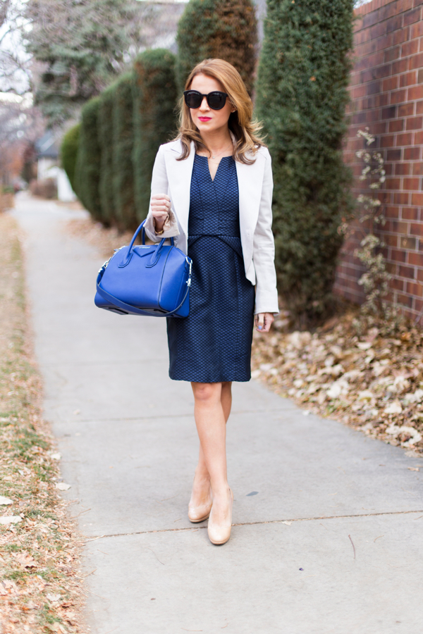Work outfit in navy + nude