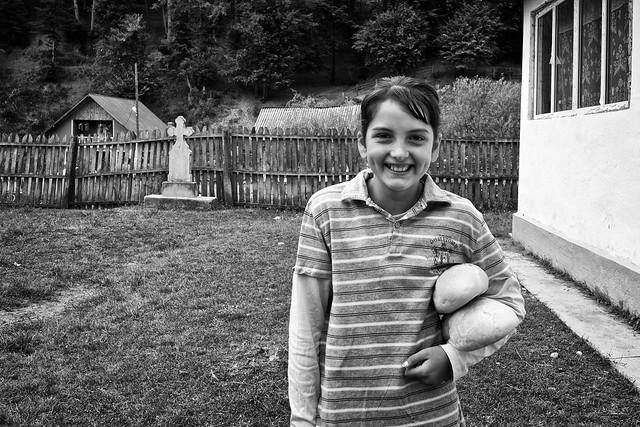 Girl outside the School in Tufanu