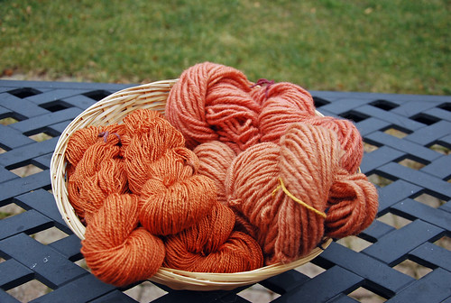 Natural dyed handspun yarns using Madder and alum mordant