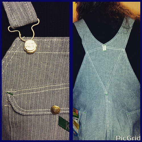 New overalls detail, with closeup on the herringbone weave. #overalls #herringbone #Key #vintage