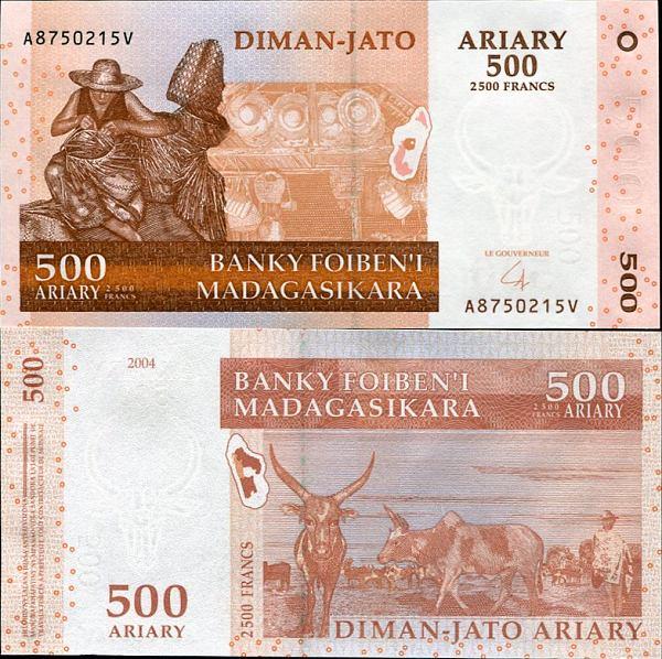 500 Ariary = 2500 Francs Madagaskar 2014