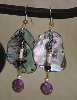Purple and Chartreuse Porcelain Beads With Abalone Shell Earring Set E - 0165