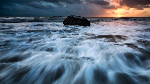 uk sunset sea seascape beach composite wales clouds coast nikon waves tokina aberystwyth ceredigion tanybwlch d7100 1116mm