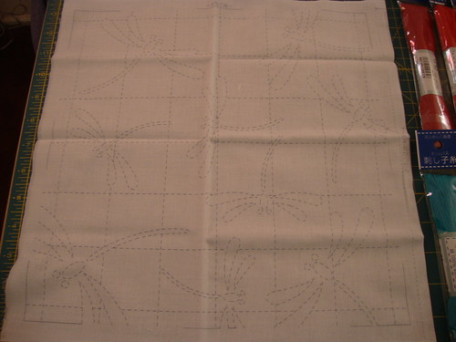 Olympus Sashiko Kit #40:  Dragonflies on white