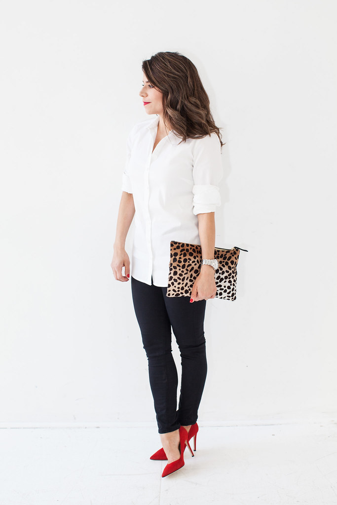 corporate looks two looks what to wear to work weekend casual corporate catwalk stripe Shirt Ann Taylor black Denim  AG Super Skinny Jeans Heels - DVF Bethany red heels Clutch Clare Vivier leopard clutch Earrings BaubleBar guess silver Watch  Guess