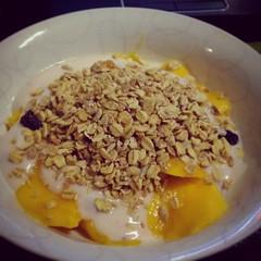 fruit(0.0), breakfast cereal(1.0), meal(1.0), breakfast(1.0), produce(1.0), food(1.0), dish(1.0), dessert(1.0), muesli(1.0), cereal(1.0), cuisine(1.0), snack food(1.0),
