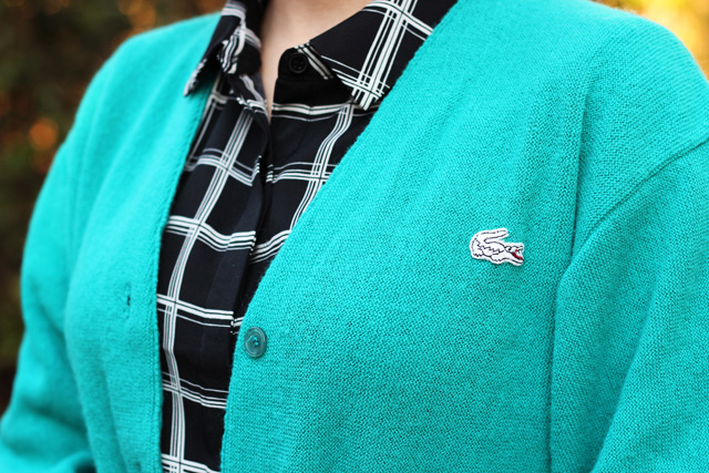 Teal Vintage Lacoste Cardigan and a Black Windowpane Print Button Down