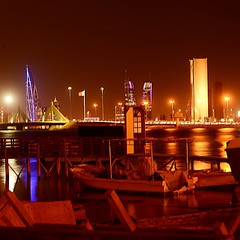 #golden #bahrain #night on the #coast #boats #water #sea