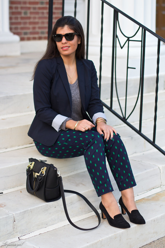 printed pants, navy blazer, grey top-4.jpg