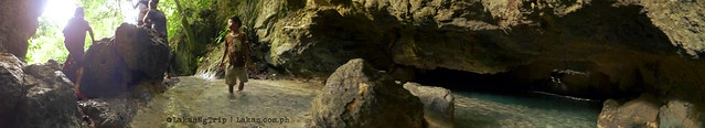 Panoramic view of the entrance to the cave of Kalubihon Falls. Iligan City, Philippines