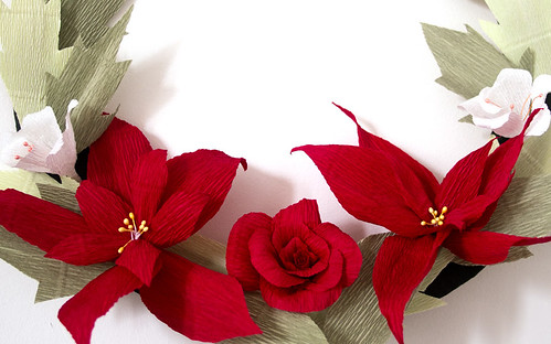 Crepe Paper Christmas Wreath Tutorial by Sarah Dennis