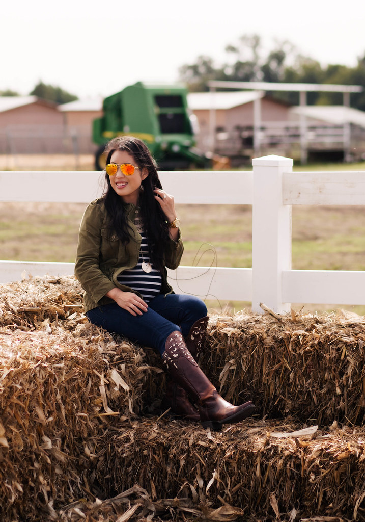 cute & little blog | petite fashion | storybook ranch fall pumpkin patch | dallas mckinney | utility jacket, striped lace yoke, bdg grazer jeans, ariat hacienda over the knee cowboy boots, oakley caveat aviators | fall maternity baby bump pregnant outfit