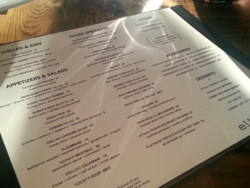 E11even menu Toronto