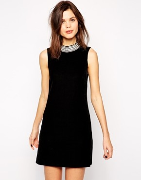 asos warehouse bodycon jewel neck velvet dress
