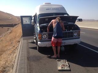 Road side mechanics in the desert