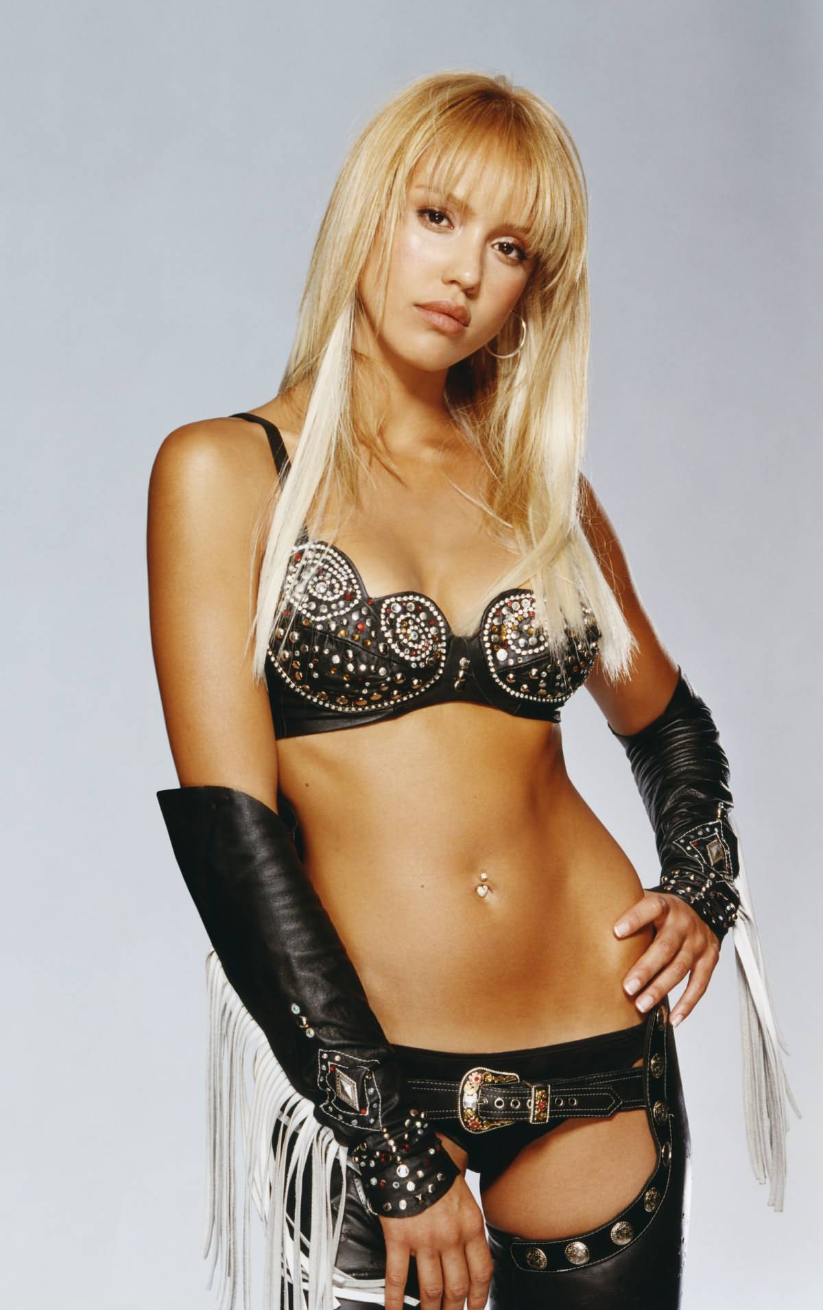 jessica-alba-blonde-hair-sexy-black-leather-bra-panties-and-thigh-highs