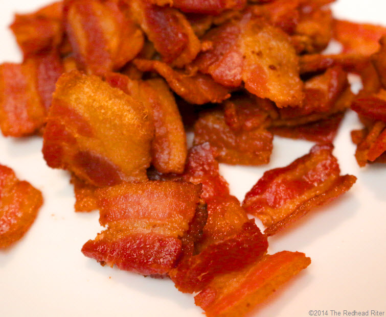 fried bacon pieces soft crunchy