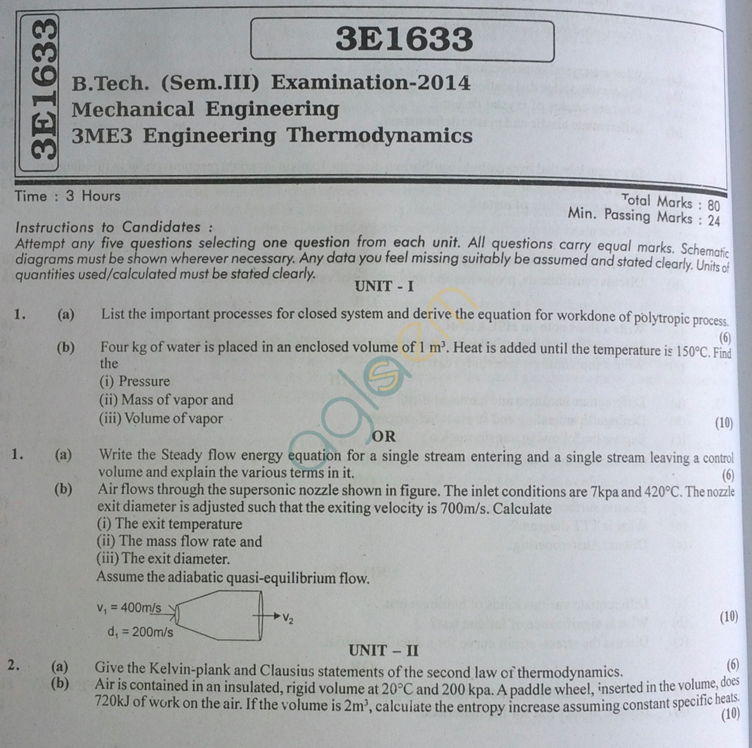 RTU: Question Papers 2014 - 3 Semester - ME - 3E1633