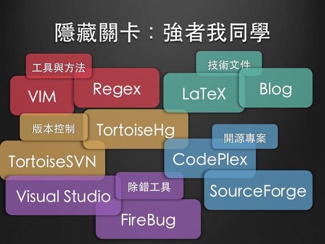 強者我同學教會我的事:vim, regex, TortoiseHg, TortoiseSVN, Visual Studio, Firebug, LaTeX, Blog, CodePlex, SourceForge...etc.