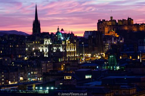architecture castle edinburgh europe history light lothian nighttimeshot scotland timeofday uk unitedkingdom lights sunset tower gb britain