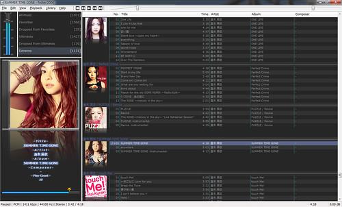 "foobar2000-SS-1 音楽再生ソフトウェアであるfoobar2000のスクリーンショット画像。 ""倉木麻衣"" さんのアルバム アートワークが多数表示されている。"