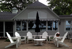 Seaside Casual Classic Adirondack Seating & Solair Awning Bell Tower