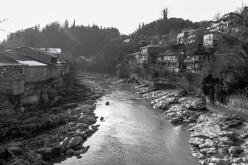 old city bridge houses white black monochrome rock stone architecture river georgia view riverside monotone kutaisi rioni
