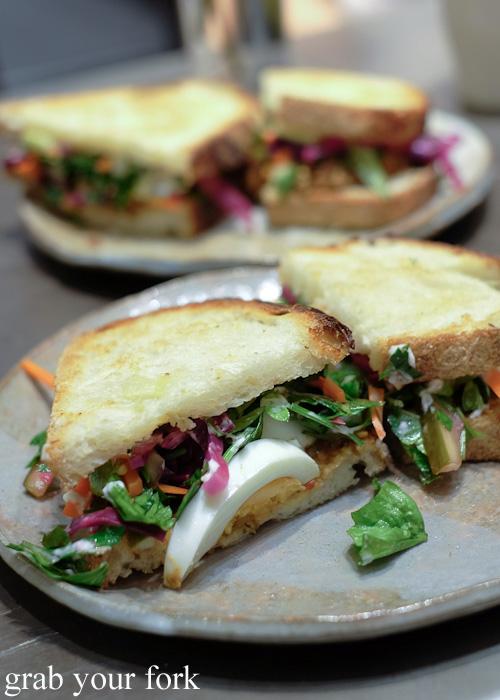 Nahm prik makuda smoked eggplant relish sandwich by Boon Cafe at Jarern Chai, Sydney