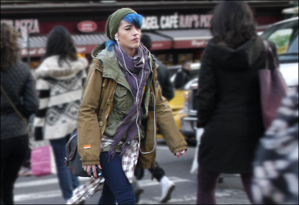 SS1-15  15w army surplus layered purple scarf blue hair knit hat east village