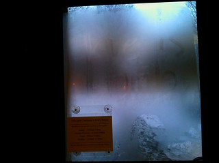 """Love is dumb"" - winter in Ohio, written in the frost on the inside of the Olin Library door."