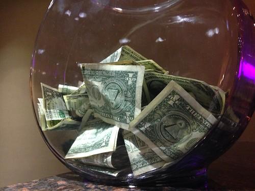 Tip Bowl Fishbowl Full of Dollar Bills