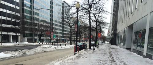 Slushy DC sidewalks, K St NW