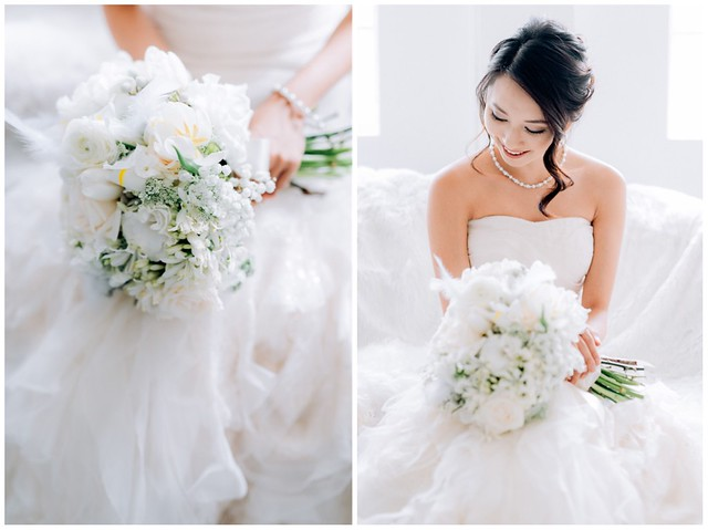White wedding, style shoot, Multifolds, Tangyong Makeup, Heaven in Wild Flower, pure, flowers, white on white, wedding, jewellery, Melissa Celestine Koh, Truly Enamoured, Tiffany and Co Jewellery, bouquet