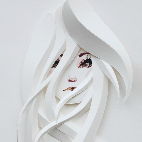 Illustrated Paper Sculpture detail of woman's face and hair