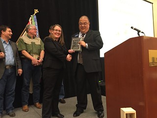 Rep. Elizabeth Scott receives the 2014 Legislator of the Year Award from the Hunters Heritage Council