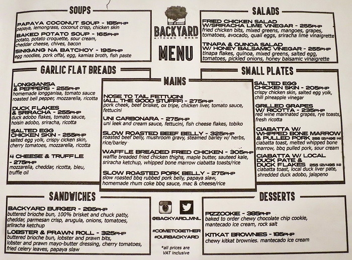 backyard s menu is not your typical organic restaurant menu