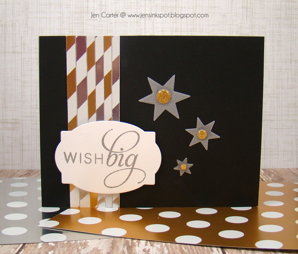 Jen Carter Gold Striped Wish Big Card