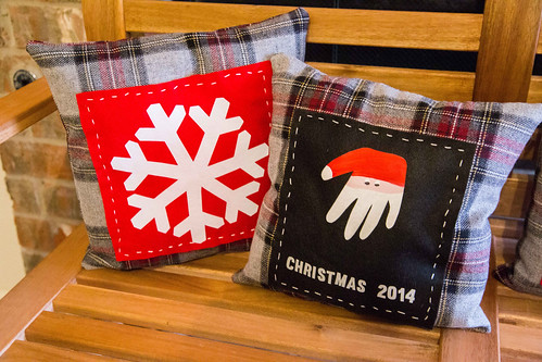 Handprint Santa Craft Holiday Keepsake Pillow