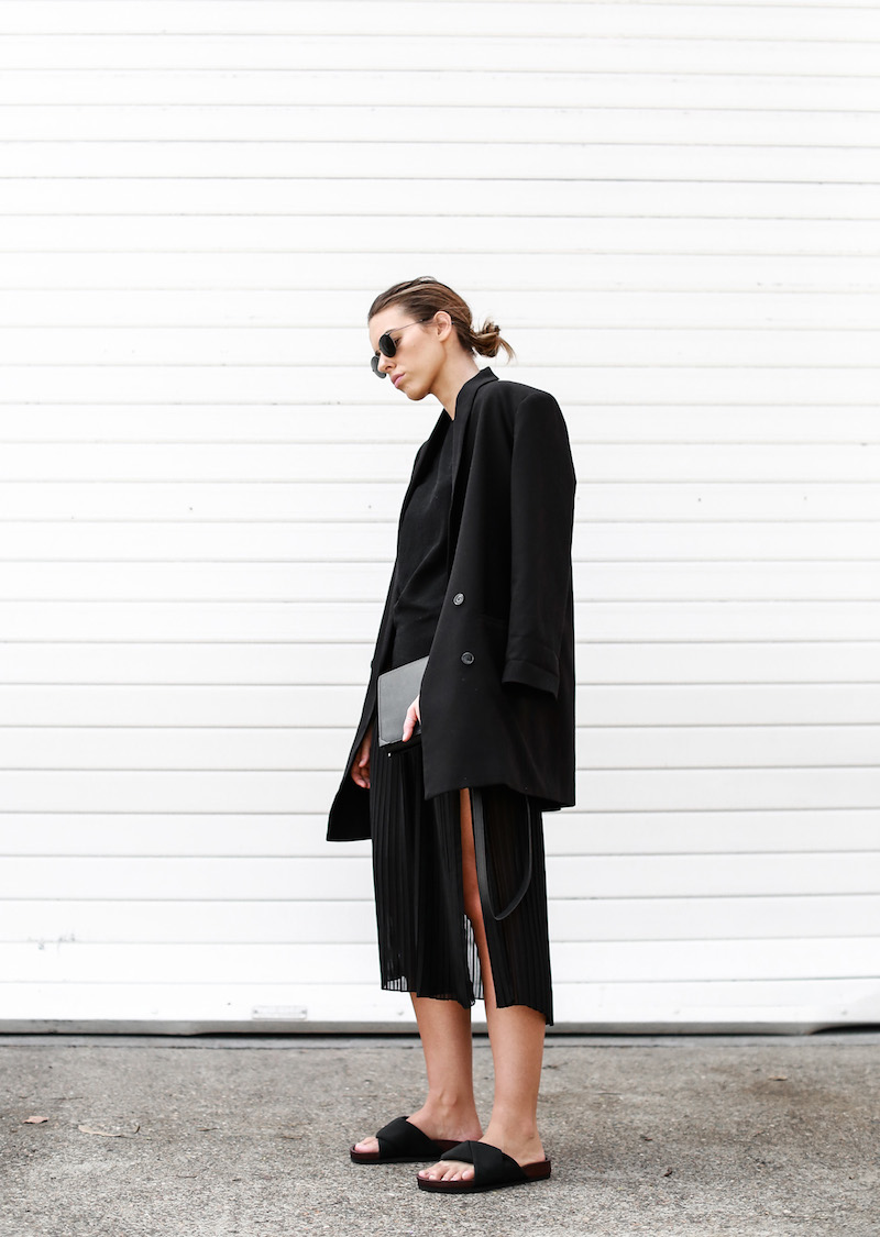 MODERN LEGACY Celine slide sandals all black street style pleated sheer split skirt Bassike tank fashion blog Australia (1 of 13)
