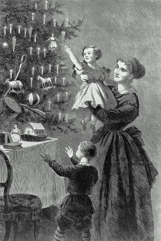 More details The Christmas Tree. January 1, 1870. John Whetten Ehninger, American, 1827–1889. Block: 34.9 x 23 cm (13 3/4 x 9 1/16 in.). Wood engraving, illustration for Harper's Bazaar. Classification: Prints. Museum of Fine Arts, Boston.
