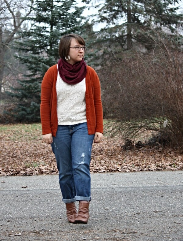 orange cardi, lace tee, red cowl, boyfriend jeans, booties